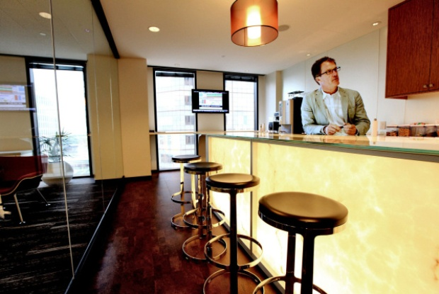JobsOhio Board Member Mark Kvamme at in-house coffee bar (Photo Credit: Fred Squillante, Columbus DIspatch)