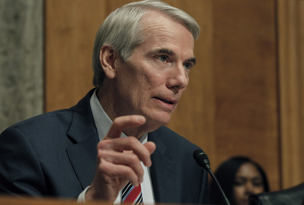 A photo of Rob Portman speaking during a congressional hearing. Image courtesy of U.S. Customs and Border Protection. Creator: Glenn Fawcett